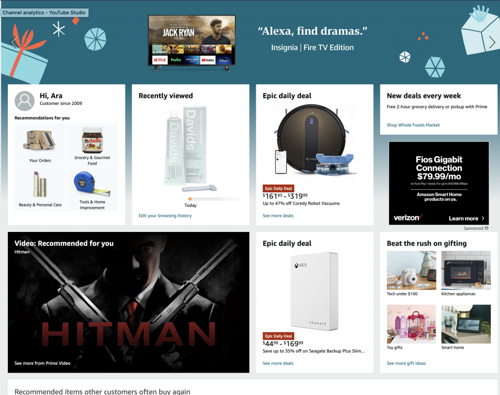 Amazon Home page-current