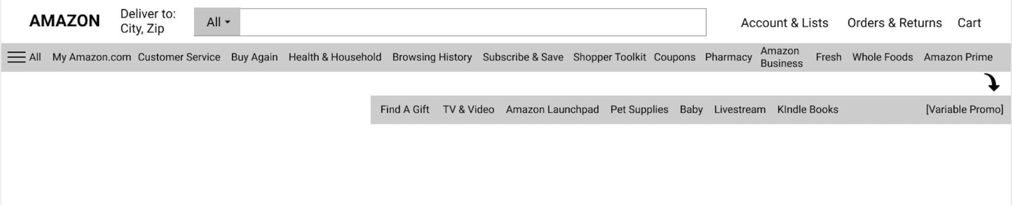 Amazon Navbar - bloated and repetitive menu